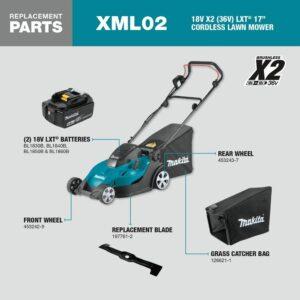 Makita 17 in. 5.0 Ah 18-Volt X2 (36-Volt) LXT Lithium-Ion Cordless Walk Behind Push Lawn Mower Kit