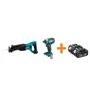 Makita 18-Volt LXT Lithium-Ion Cordless Reciprocal Saw and Impact Driver with Free 4.0Ah Battery (2-Pack)
