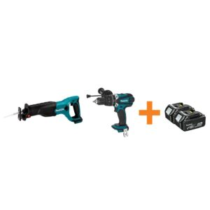 Makita 18-Volt LXT Lithium-Ion Cordless Reciprocal Saw and Hammer Driver/Drill with Free 4.0Ah Battery (2-Pack)