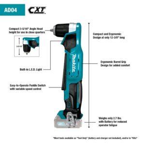 Makita 12-Volt MAX CXT Lithium-Ion Cordless 3/8 in. Right Angle Drill Kit (2.0 Ah)