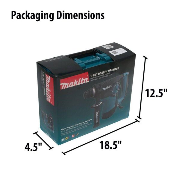 Makita 7 Amp 1-1/8 in. Corded SDS-Plus Concrete/Masonry Rotary Hammer Drill with Side Handle and Hard Case