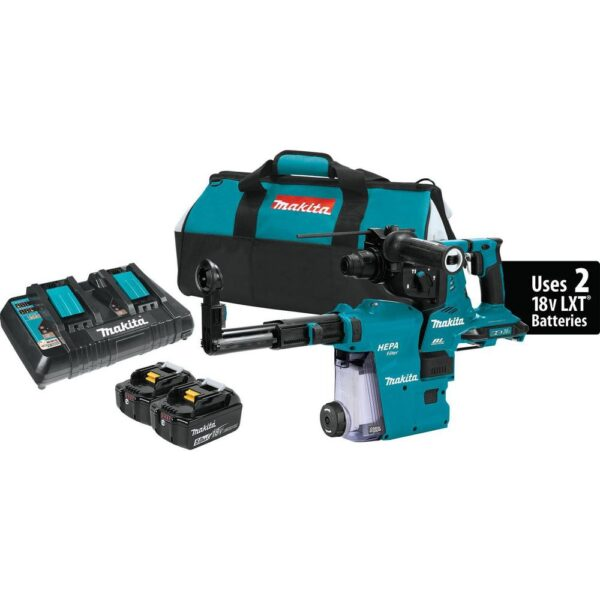 Makita 18-Volt X2 LXT 36-Volt 1-1/8 in. Brushless Cordless Rotary Hammer Kit with HEPA Dust Extractor AFT AWS Capable 5.0 Ah