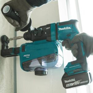 Makita 18-Volt 11/16 in. LXT Lithium-Ion Brushless AVT SDS-Plus Rotary Hammer Kit with HEPA Dust Extractor AWS Capable 5.0 Ah