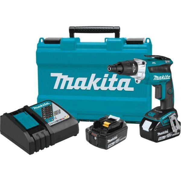 Makita 18-Volt 5.0 Ah LXT Lithium-Ion Brushless Cordless 2500 RPM Screwdriver Kit