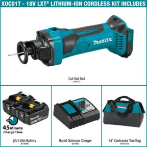 Makita 18-Volt LXT Lithium-Ion Cordless Cut-Out Tool Kit, 5.0 Ah