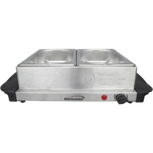 Brentwood 3 Qt. Metallic 2-Pan Buffet Server with Warming Tray