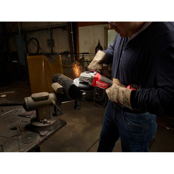 Milwaukee M18 FUEL 18-Volt Lithium-Ion Brushless Cordless 4-1/2 in./5 in. Grinder, Paddle Switch No-Lock Kit W/(2) 9.0Ah Batteries