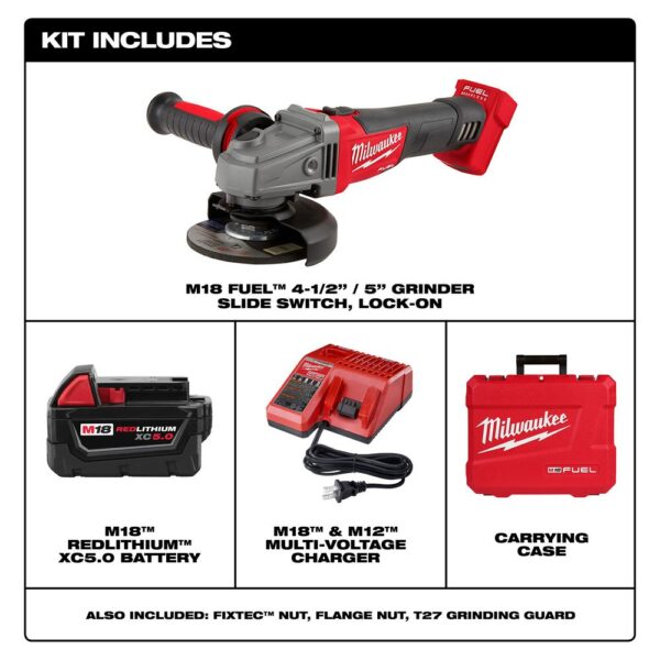 Milwaukee M18 FUEL 18-Volt Lithium-Ion Brushless Cordless 4-1/2 in. /5 in. Grinder W/ Slide Switch Kit W/ (1) 5.0Ah Batteries