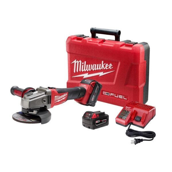 Milwaukee M18 FUEL 18-Volt Lithium-Ion Brushless Cordless 4-1/2 in./5 in. Grinder with Slide Switch Kit with Two 5.0Ah Batteries
