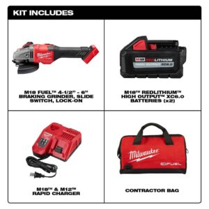 Milwaukee M18 FUEL 18-Volt Lithium-Ion Brushless Cordless 4-1/2 in./6 in. Grinder with Slide Switch Kit and Two 6.0 Ah Battery