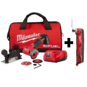 Milwaukee M12 FUEL 12-Volt 3 in. Lithium-Ion Brushless Cordless Cut Off Saw Kit with M12 Oscillating Multi-Tool