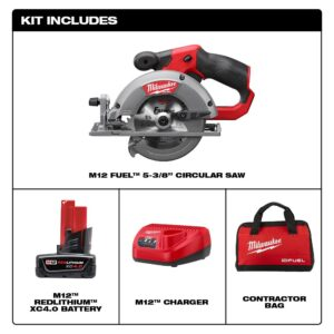 Milwaukee M12 FUEL 12-Volt Lithium-Ion Brushless Cordless 5-3/8 in. Circular Saw Kit with (1) 4.0Ah Battery, Charger, Tool Bag