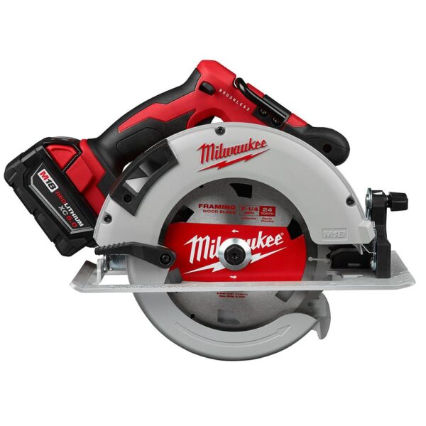 Milwaukee M18 18-Volt Lithium-Ion Brushless Cordless 7-1/4 in. Circular Saw Kit with 1 Battery 5.0Ah, Charger and Bag