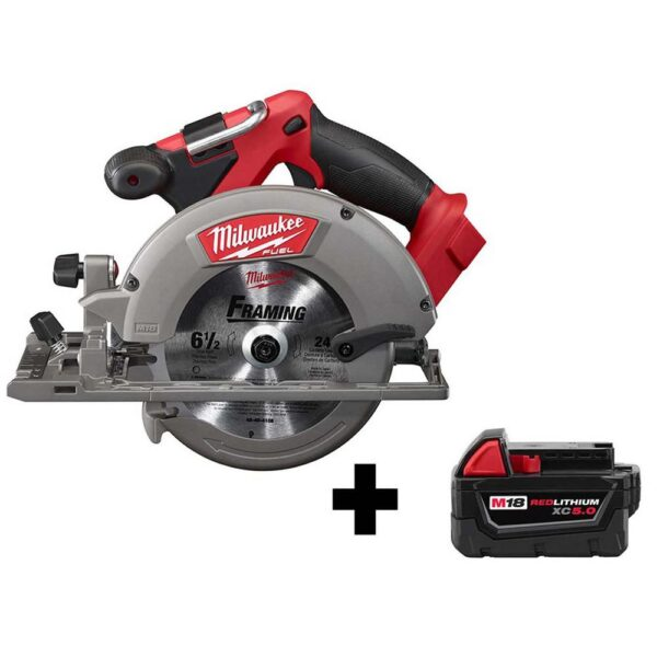 Milwaukee M18 FUEL 18-Volt Lithium-Ion Brushless Cordless 6-1/2 in. Circular Saw W/ M18 5.0 Ah Battery