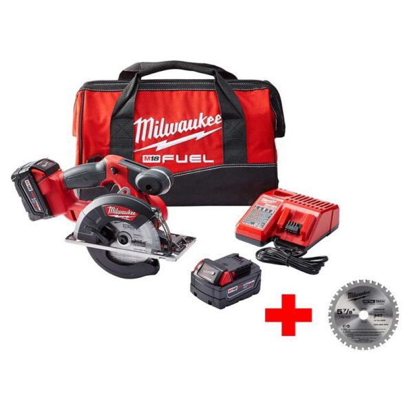 Milwaukee M18 FUEL 18-Volt Lithium-Ion Brushless Cordless 5-3/8 in. Metal Saw Kit with Extra Metal Cutting Blade