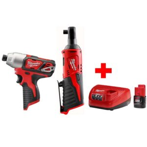 Milwaukee M12 12-Volt Lithium-Ion Cordless 3/8 in. Ratchet and 1/4 in. Impact Driver Combo Kit with (1) 2.0Ah Battery and Charger