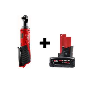 Milwaukee M12 12-Volt Lithium-Ion Cordless 3/8 in. Ratchet with 4.0 Ah M12 Battery