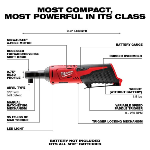 Milwaukee M12 12-Volt Lithium-Ion Cordless 3/8 in. Ratchet (Tool-Only)