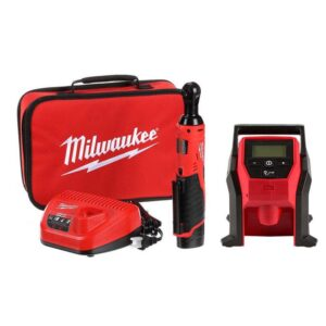 Milwaukee M12 12-Volt Lithium-Ion Cordless 3/8 in. Ratchet and Inflator Combo Kit (2-Tool) with (1) Battery and Charger