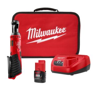 Milwaukee M12 12-Volt Lithium-Ion Cordless 3/8 in. Ratchet Kit with One 1.5 Ah Battery, Charger and Tool Bag