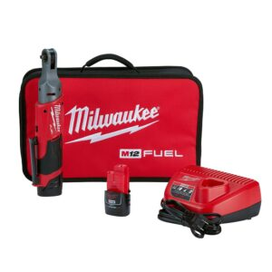 Milwaukee M12 FUEL 12-Volt Lithium-Ion Brushless Cordless 1/4 in. Ratchet Kit W/ (2) 2.0Ah Batteries, Charger & Tool Bag