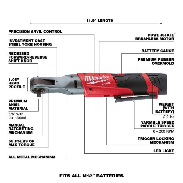 Milwaukee M12 FUEL 12-Volt Lithium-Ion Brushless Cordless 3/8 in. Ratchet Multi-Tool Combo Kit with (1) 2.0Ah Battery and Charger