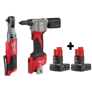 Milwaukee M12 FUEL 12-Volt Lithium-Ion Brushless Cordless 3/8 in. Ratchet and Rivet Tool with two 3.0 Ah Batteries