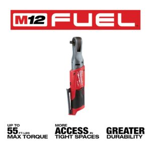 Milwaukee M12 FUEL 12-Volt Lithium-Ion Brushless Cordless 3/8 in. and 1/2 in. Ratchet with two 3.0 Ah Batteries