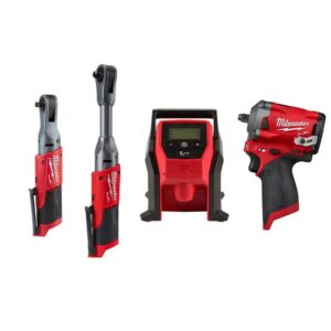 Milwaukee M12 FUEL 12-Volt Lithium-Ion Brushless Cordless 3/8 in. Ratchet and Impact and Inflator Combo Kit (Tool-Only Kit)