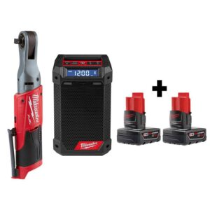 Milwaukee M12 FUEL 12-Volt Lithium-Ion Brushless Cordless 3/8 in. Ratchet and Jobsite Radio with two 3.0 Ah Batteries