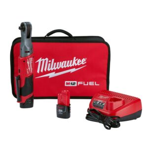 Milwaukee M12 FUEL 12-Volt Lithium-Ion Brushless Cordless 3/8 in. Ratchet Kit with (2) 2.0Ah Batteries, Charger & Tool Bag
