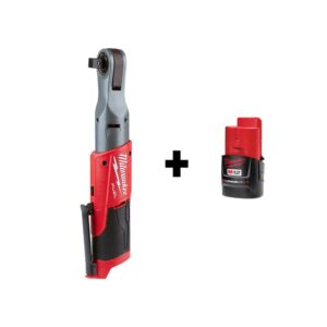Milwaukee M12 FUEL 12-Volt Lithium-Ion Brushless Cordless 1/2 in. Ratchet with M12 2.0Ah Battery