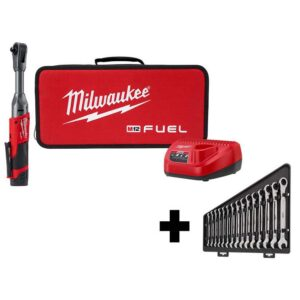 Milwaukee M12 FUEL 12-Volt Lithium-Ion Brushless Cordless 3/8 in. Extended Reach Ratchet Kit with Metric Ratcheting Wrench Set