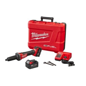 Milwaukee M18 FUEL 18-Volt Lithium-Ion Brushless Cordless 1/4 in. Die Grinder Kit with Two 5.0Ah Batteries, Charger and Hard Case