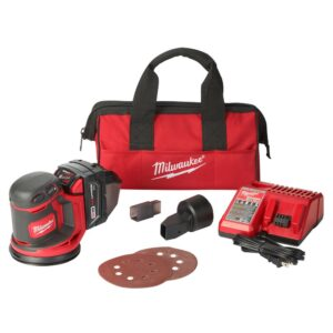 Milwaukee M18 18-Volt Lithium-Ion 5 in. Cordless Random Orbit Sander Kit with (1) 3.0Ah Battery, Charger and Tool Bag