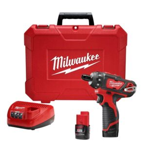 Milwaukee M12 12-Volt Lithium-Ion Cordless 1/4 in. Hex 2-Speed Screwdriver Kit with Two 1.5 Ah Batteries and Hard Case