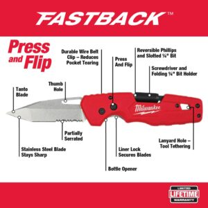 Milwaukee FASTBACK 5-in-1 Folding Knife with 3 in. Blade