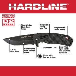 Milwaukee 3.5 in. Hardline D2 Steel Smooth Blade Pocket Folding Knife