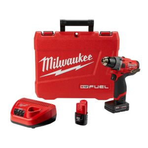 Milwaukee M12 FUEL 12-Volt Lithium-Ion Brushless Cordless 1/2 in. Hammer Drill Kit with 4.0 Ah and 2.0 Ah Battery and Hard Case