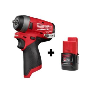 Milwaukee M12 FUEL 12-Volt Lithium-Ion Brushless Cordless Stubby 1/4 in. Impact Wrench with M12 2.0Ah Battery