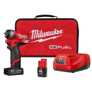 Milwaukee M12 FUEL 12-Volt Lithium-Ion Brushless Cordless Stubby 1/4 in. Impact Wrench Kit with One 4.0 and One 2.0Ah Batteries