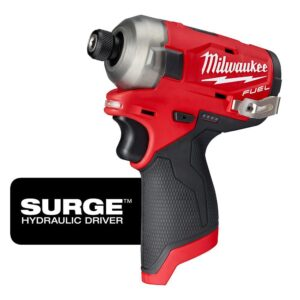 Milwaukee M12 FUEL 12-Volt Lithium-Ion Brushless Cordless Stubby 3/8 in. Impact Wrench and Impact Driver W/two 3.0 Ah Batteries