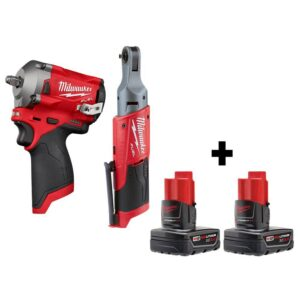 Milwaukee M12 FUEL 12-Volt Lithium-Ion Brushless Cordless Stubby 3/8 in. Impact Wrench & 1/4 in. Ratchet with Two 3.0Ah Batteries