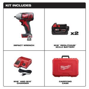 Milwaukee M18 18-Volt Lithium-Ion Cordless 3/8 in. Impact Wrench W/ Friction Ring Kit W/(2) 3.0Ah Batteries, Charger, Hard Case