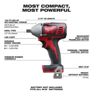 Milwaukee M18 18-Volt Lithium-Ion 1/2 in. Cordless Impact Wrench W/ Pin Detent (Tool-Only)