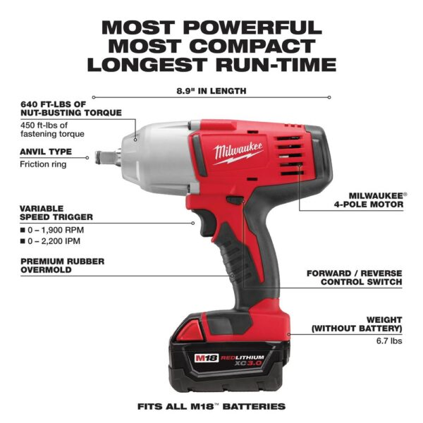 Milwaukee M18 1/2 in. 18-Volt Lithium-Ion Cordless Impact Wrench W/Friction Ring Kit W/(2) 3.0 Ah Batteries Charger and Hard Case