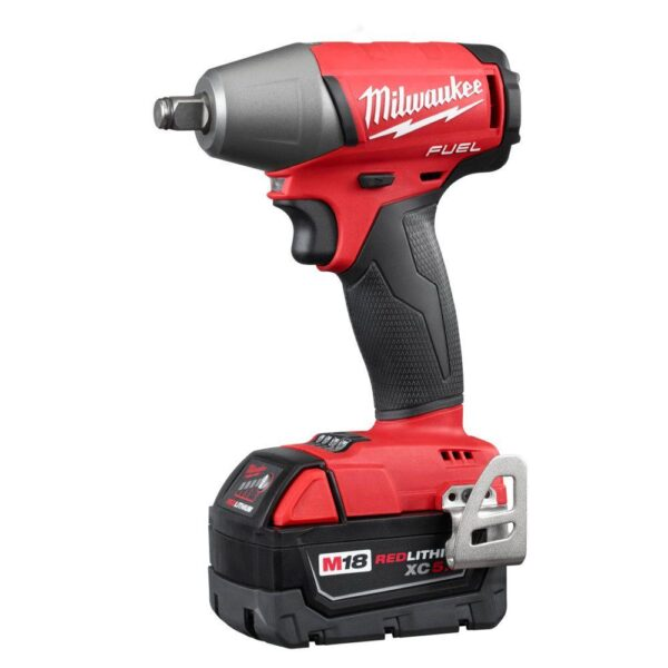 Milwaukee M18 FUEL 18-Volt Lithium-Ion Brushless Cordless 1/2 in. Impact Wrench Friction Ring with Two 5 Ah Batteries, Hard Case