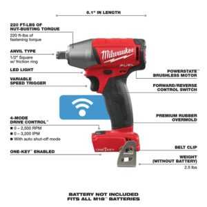 Milwaukee M18 FUEL ONE-KEY 18-Volt Lithium-Ion Brushless Cordless 1/2 in. Impact Wrench w/ Friction Ring (Tool-Only)