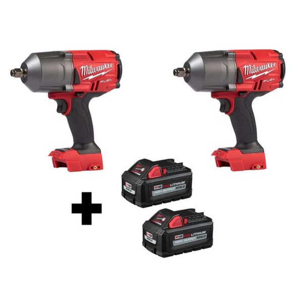 Milwaukee M18 FUEL 18-Volt 1/2 in. Lithium-Ion Brushless Cordless Impact Wrench w/ Friction Ring (2-Tool) w/ Two 6.0Ah Batteries