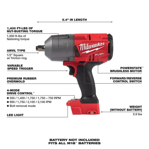 Milwaukee M18 FUEL 18-Volt 1/2 in. Lithium-Ion Brushless Cordless Impact Wrench w/ Friction Ring & Grinder w/ Two 6.0Ah Batteries